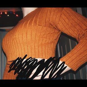 Forever 21 Burnt Orange Cropped Sweater